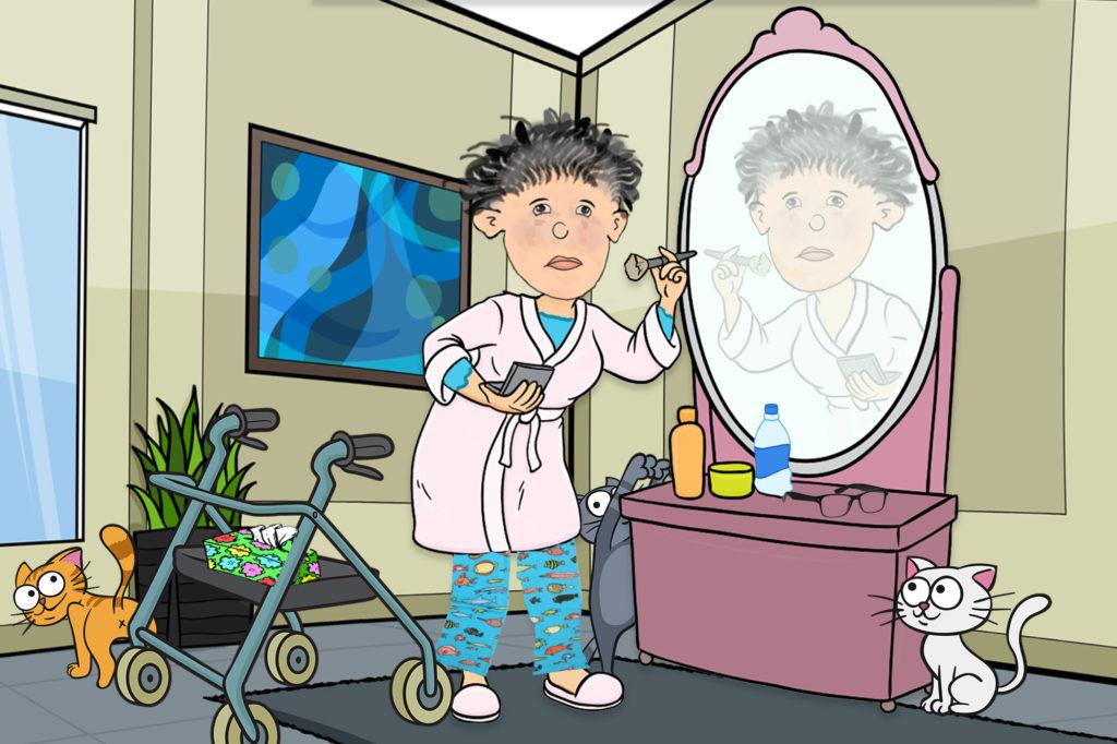 Cartoon lady with walker