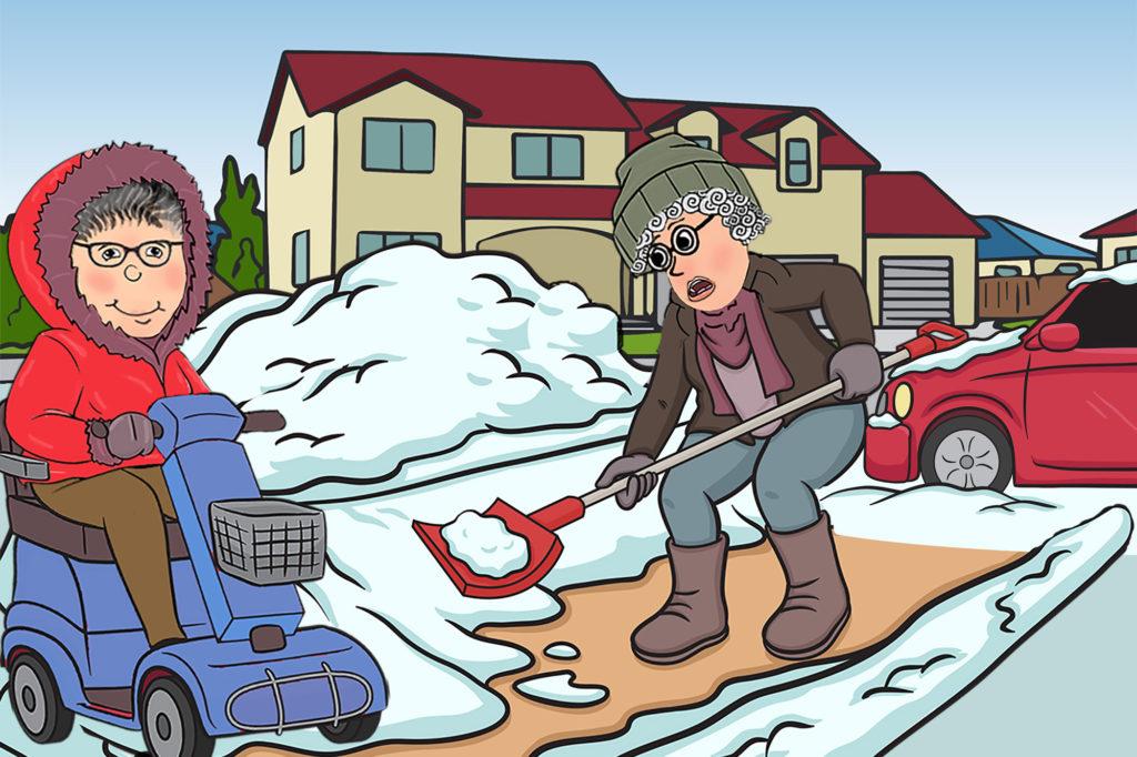 Cartoon shovelling snow