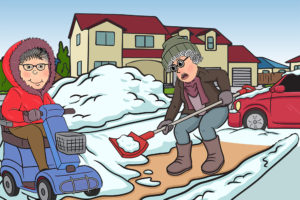 Cartoon shovelling snow