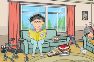 Cartoon disabled woman reading