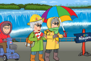 Cartoon of 3 people one disabled on scooter at Niagara Falls