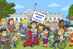 Group od cartoon disabled people outside the White House