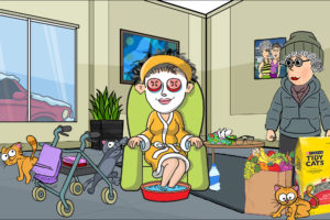 Cartoon woman spa day