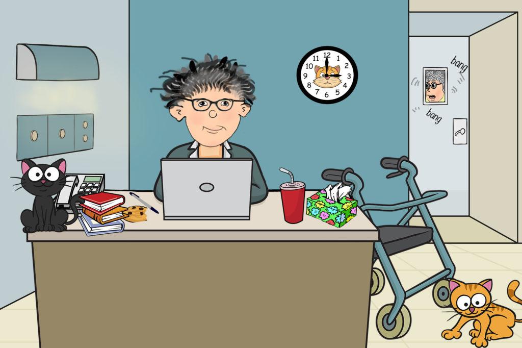 cartoon of woman working hard