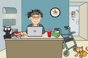 cartoon of woman working hard